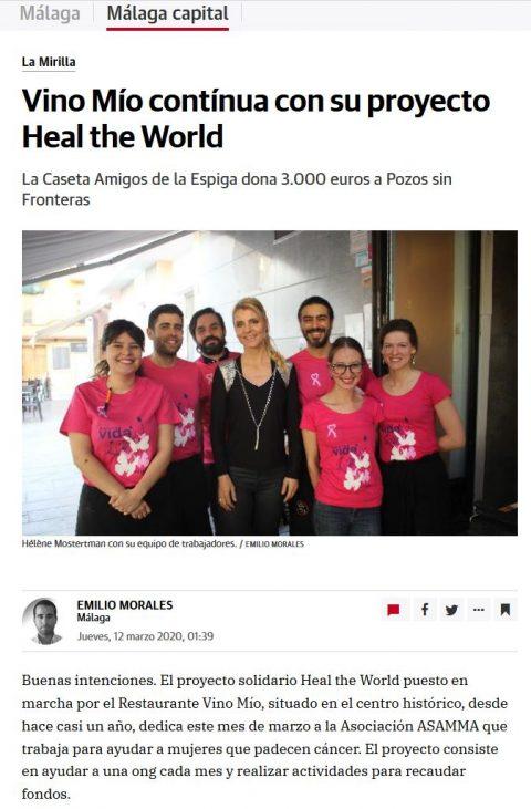 Vino Mío contínua con su proyecto Heal the World